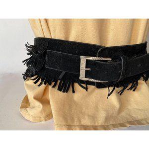Black Suede Fringe Belt